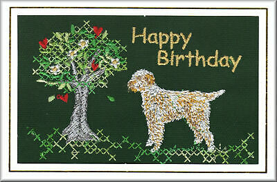 Italian Spinone Birthday Card Embroidered by Dogmania - FREE PERSONALISATION