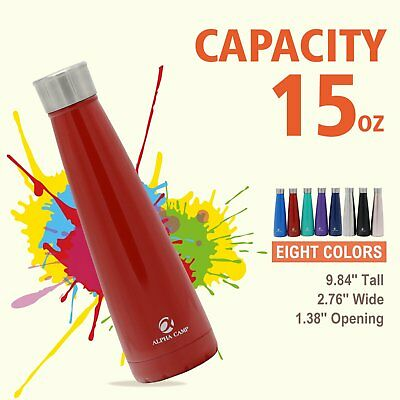 ALPHA CAMP 15 OZ Stainless Steel Water Bottle Vacuum Insulated Leak-Proof, Red