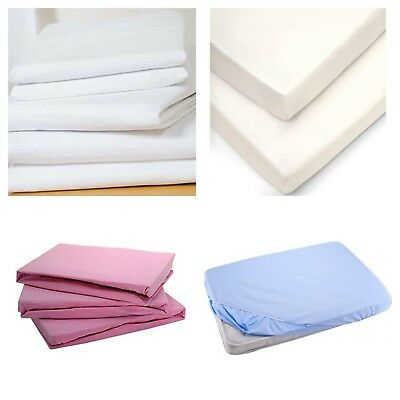 2 x Cot Bed  Fitted Sheets 140 x 70 cm 100% Cotton - Soft Jersey Sheets
