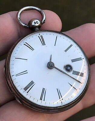 A Gents Old Antique Solid Silver Verge / Fusee Bullseye Glass Pocket Watch, 1846