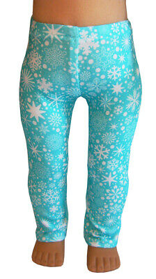 "For 18"" American Girl Doll Clothes Exclusive Aqua Frozen Snowflake Leggings"