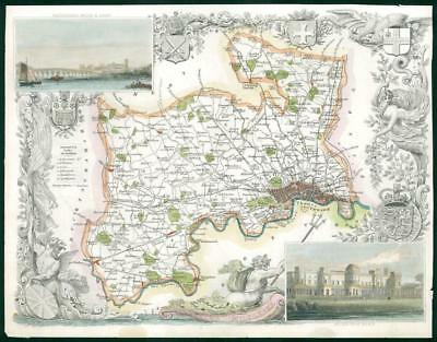 "1840 - Antique Map of ""MIDDLESEX"" LONDON by Thomas Moule hand Coloured (bm32)"