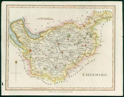 "1794 - Original Antique Map of ""CHESHIRE"" by John Stockdale hand coloured (bm30)"