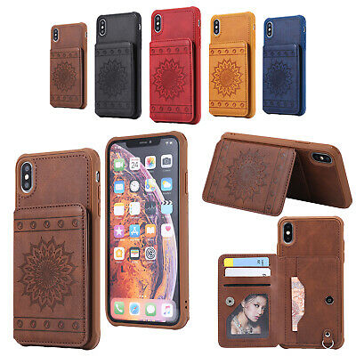Leather Slim Wallet Credit Card Slot Stand Back Cover Case for iPhone 7 8 Plus