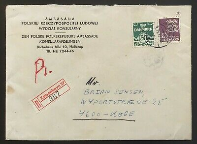 Denmark 1975. Domestic registered cover. From embassy of Poland.