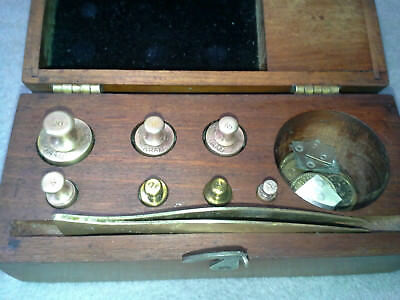 Vintage H. Troemner Apothecary Gold Scale Weights, 3 Complete Sets, Mahogany Box