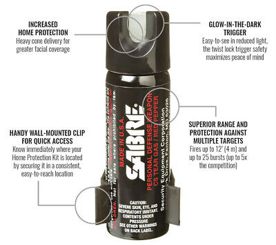 SABRE 3-IN-1 Pepper Spray Advanced Police Strength New With Clip