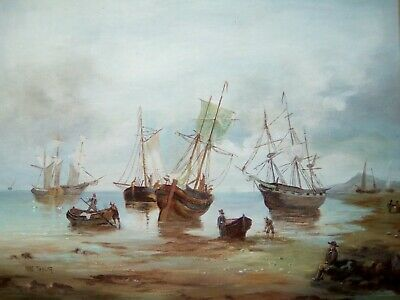 Maritime seascape painting LOW TIDE after Henry Redmore(1820 - 1887) Mae Taylor