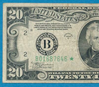 $20. 1934-C Star New York Old Back Design  Green Seal Federal Reserve Note Vf