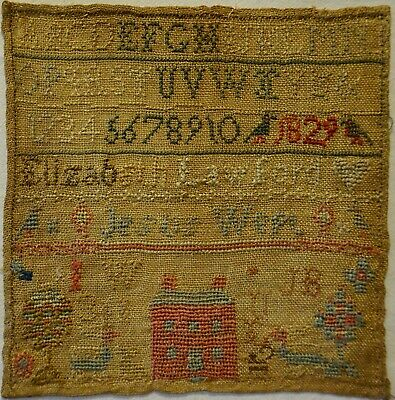 Very Small Early 19Th Century Red House Sampler By Elizabeth Lawford - 1829