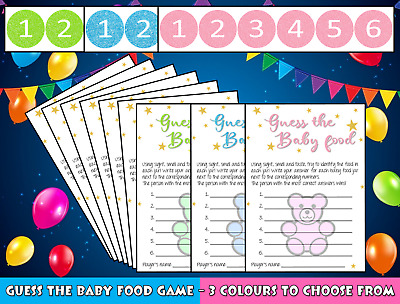 Guess the Baby Food Baby Shower Game Pink Girl Blue Boy Green Neutral