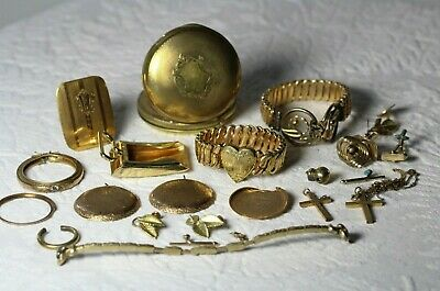 Gold Filled Scrap Lot ~ Pocket Watches Victorian Jewelry Parts 198.8 grams