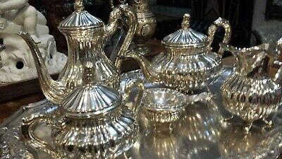 4785g HIGH CLASS STERLING SILVER FLUTTED FRENCH STYLE COFFEE TEA SET 6 ITEMS