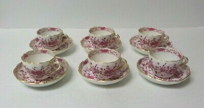 Set/6 Meissen PURPLE INDIAN Demitasse Cup & Saucer Sets, First Quality