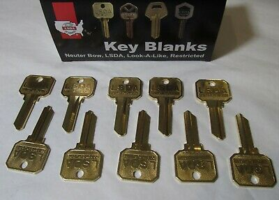 10x USA MADE LSDA 1145-NB SCHLAGE/BR 35 100C UNCUT BLANK KEYS DO NOT DUPLICATE