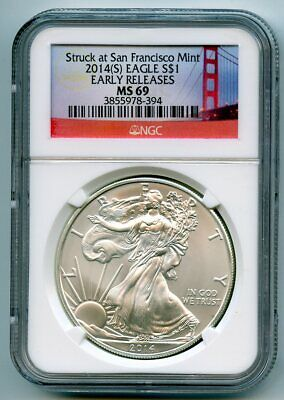 2014 S Silver American Eagle $1(MS 69) NGC ** Early  Releases!! **