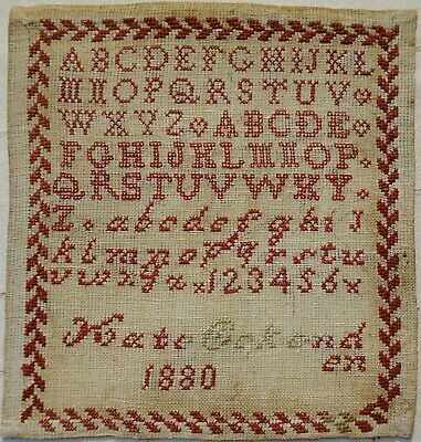 Small Late 19Th Century Alphabet Sampler By Kate Oakenden - 1880