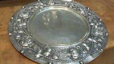 980g XIX CENTURY STERLING SILVER TRAY CENTER HEAVY CARVING