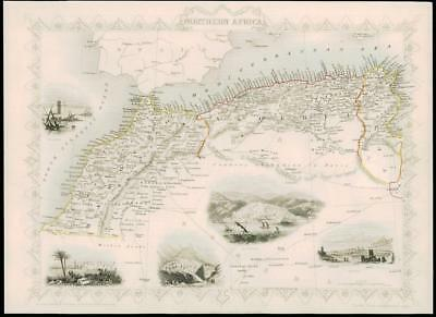 1850 - Original Antique Map NORTHERN AFRICA by Tallis Algiers Morocco (dw5)