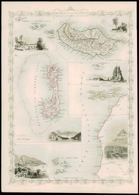 """1850 Antique Map """"ISLANDS IN THE ATLANTIC"""" Tallis BERMUDA MADEIRA CANARY (dw31)"""