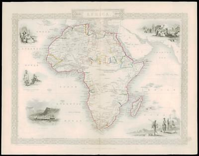 1850 - Original Antique Map AFRICA Tallis ST HELENA ALGERIA INDIAN OCEAN (dw2)