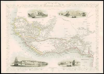 1850 - Original Antique Map WESTERN AFRICA by Tallis CAPE COAST (dw8)