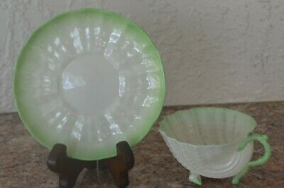 Belleek Neptune Green Tridacna Shell Footed Cup & Saucer 2nd Black 1891/1926