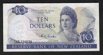 NEW ZEALAND - ERROR Note $10 Wilks (1968-75) Missing top Serial - partial on rev