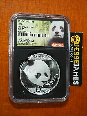 2018 China Silver Panda Ngc Ms70 First Day Of Issue Cheng Chao Signed Fdi