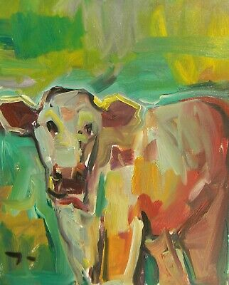 JOSE TRUJILLO Contemporary Impressionism Cow Calf Ranch Art OIL PAINTING Signed