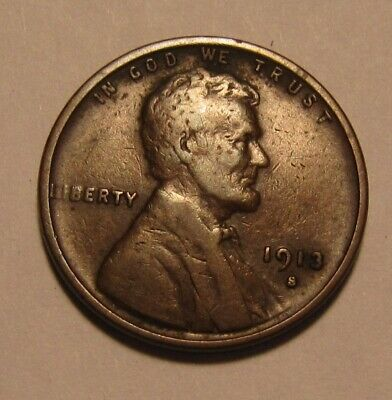 1913 S Lincoln Cent Penny - Very Fine Condition - 8SA-2