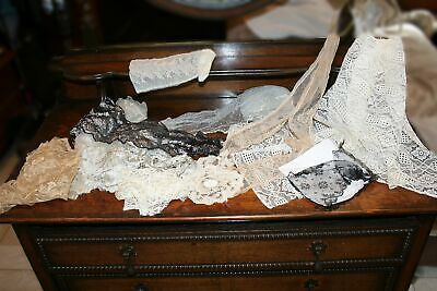 ANTIQUE Victorian lot VARIETY LACE TRIM LAPPET Dress/Costumes