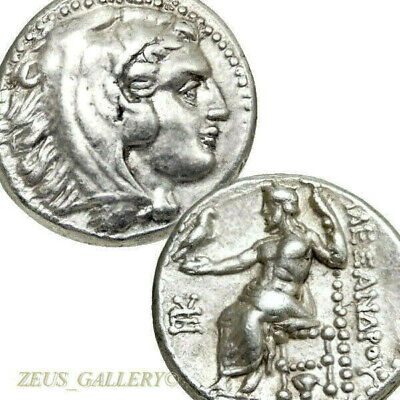 ALEXANDER the Great Rare LIFETIME Ancient Greek Silver Coin Rose Herakles Drachm