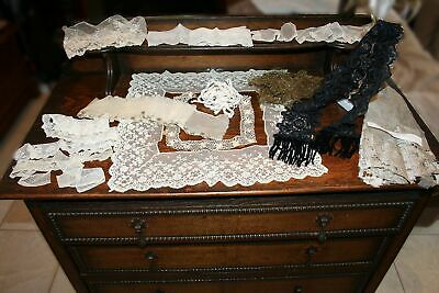 ANTIQUE VICTORIAN LACE LOT REMNANTS SILK BLACK LAPPET TRIM EMBELLISHMENTS No RES