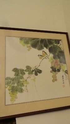 vintage painting chinese watercolor birds on tree seal mark calligraphy art