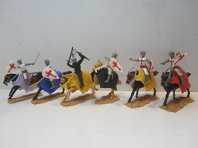 Lot Of 6 TIMPO TOYS CRUSADERS Knights Soldier Horse Mounted MEDIEVAL Ages NORMAN