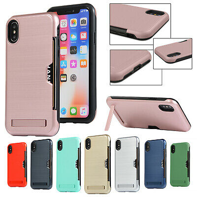 For iPhone 6s 6 Plus Case Hybrid Rubber Card Holder Shockproof Slim Stand Cover