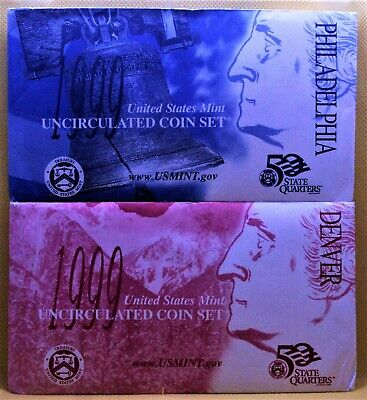 👀1999 P&D US MINT STATE QUARTERS SET👀1st YEAR OF ISSUE👀10 BU COINS IN OGP👀