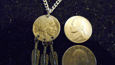 bling pewter MYTH NATIVE INDIAN HEAD CHIEF PENDANT charm chain necklace JEWELRY