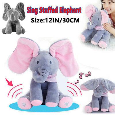 Peek-a-boo Elephant Baby Plush Toy Talking Singing Stuffed Kids Music Cute Doll