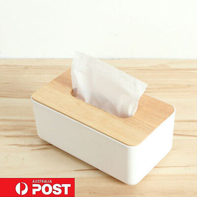 Plastic Home Room Car Hotel Tissue Box Wooden Cover Paper Napkin Holder Case dd