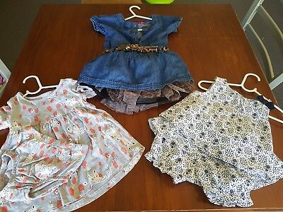 Baby Girl Dresses 0-1 Bulk lot of 3 Peter Mowissey, Sprout, Tiny little wonders.