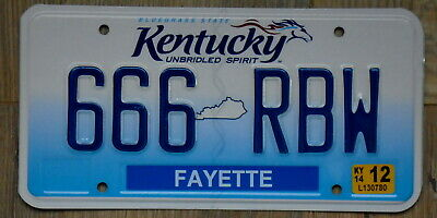 KENTUCKY Unbridled Spirit Fayette County Devil's Number License Plate 666 RBW