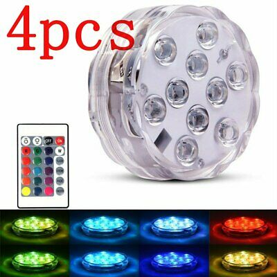 4 pcs Submersible 10 LED WaterProof Light RGB for Vase Wedding Fish Tank Decor