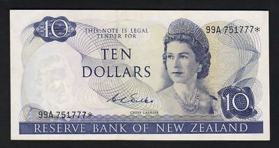 New Zealand P-166b. (1968-75) $10 - STAR Note.. Wilks.. 99A Prefix.. EF
