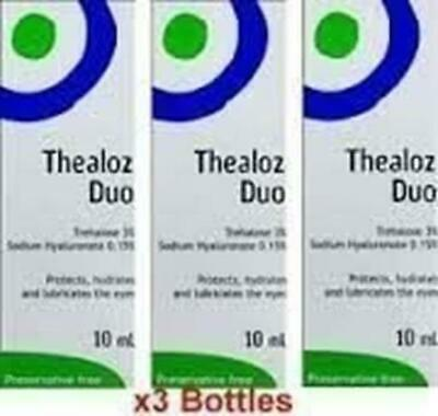 NEW 3 X Thealoz Duo 10Ml Preservative Free Eye Drops For Severe Chronic Dry Eyes