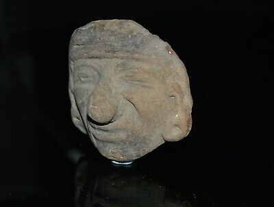 Precolumbian Face Head Terracotta Pottery Antiquity  - Old Spanish Collection