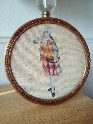 Really Old embroidery, georgian gentleman in his finest, period round frame.