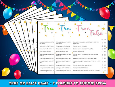 True or False Baby Shower Game Pink Girl Blue Boy Green Neutral 10 or 20 Players
