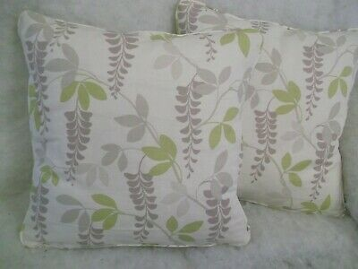 """AVEBURY BY LAURA ASHLEY 1 PAIR OF 18/"""" CUSHION COVERS DOUBLE SIDED//PIPED//ZIP"""